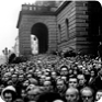 Near the Rudolfinum (a Prague music auditorium), people waited for the hearse with Jan Palach's casket, 25 January 1969 (Photo: Miloň Novotný)